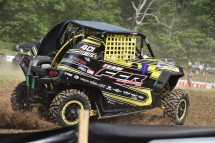 Josh Luketic charges off the start at Sunday Creek Raceway.